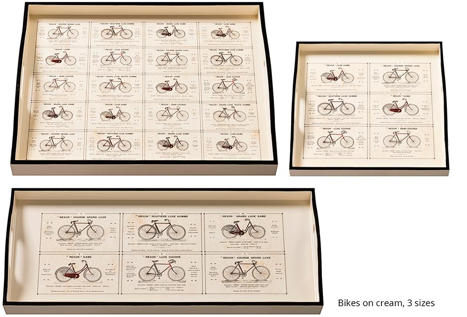 Decoupaged Trays Bikes on Cream 3 Sizes
