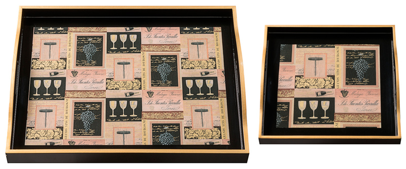 Handcrafted decoupaged trays with CRT124 Vins de France