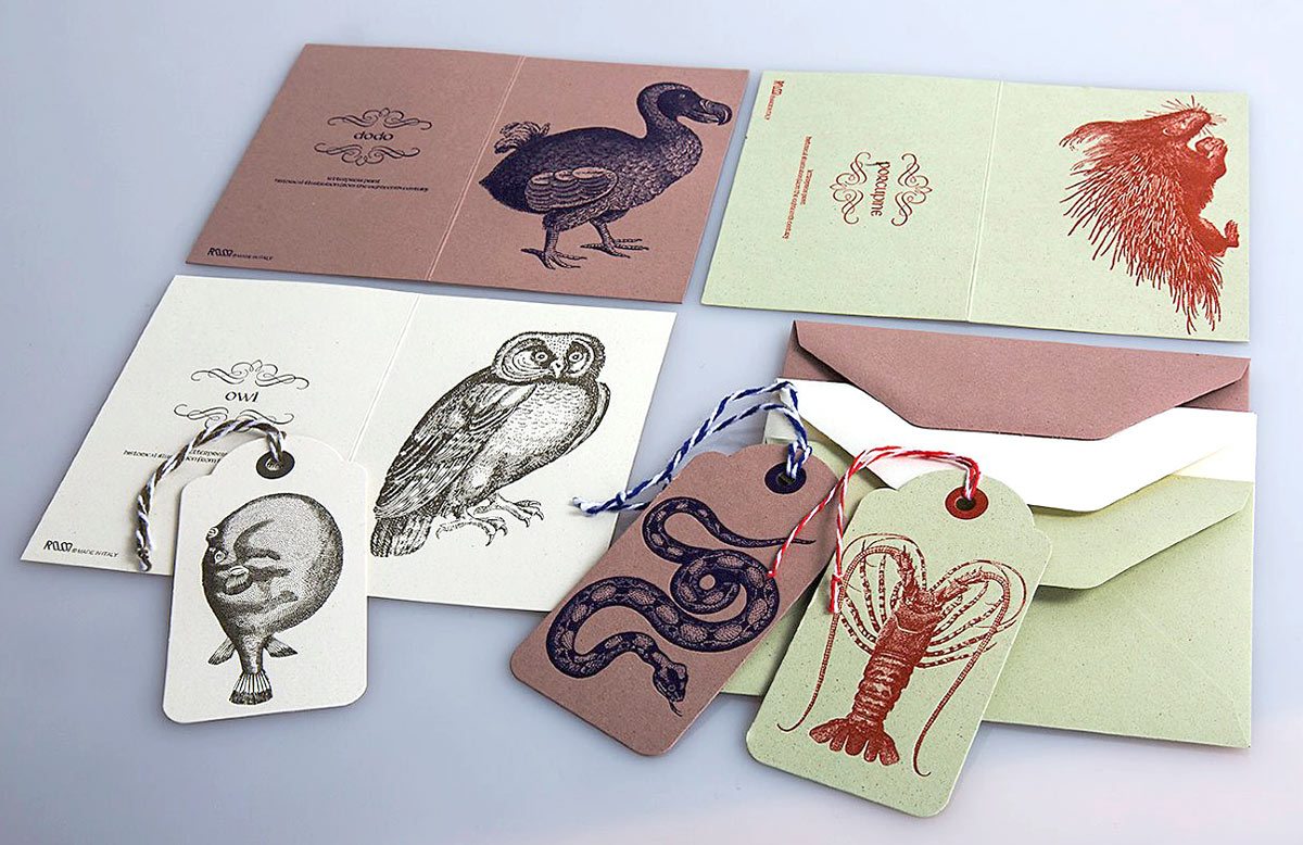 Letterpress double cards tags eco friendly