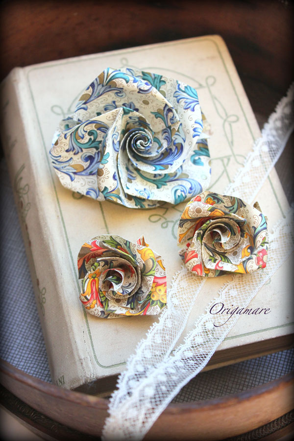 Rossi1931 Origami Origamare Roses with florentine decorative papers