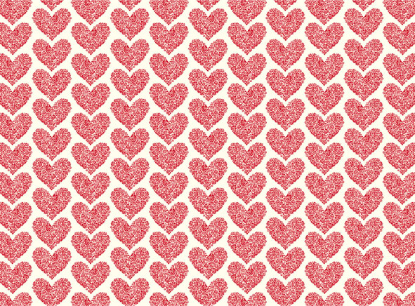 LTP 021 Decorative Paper Wrapping Hearts Letterpress