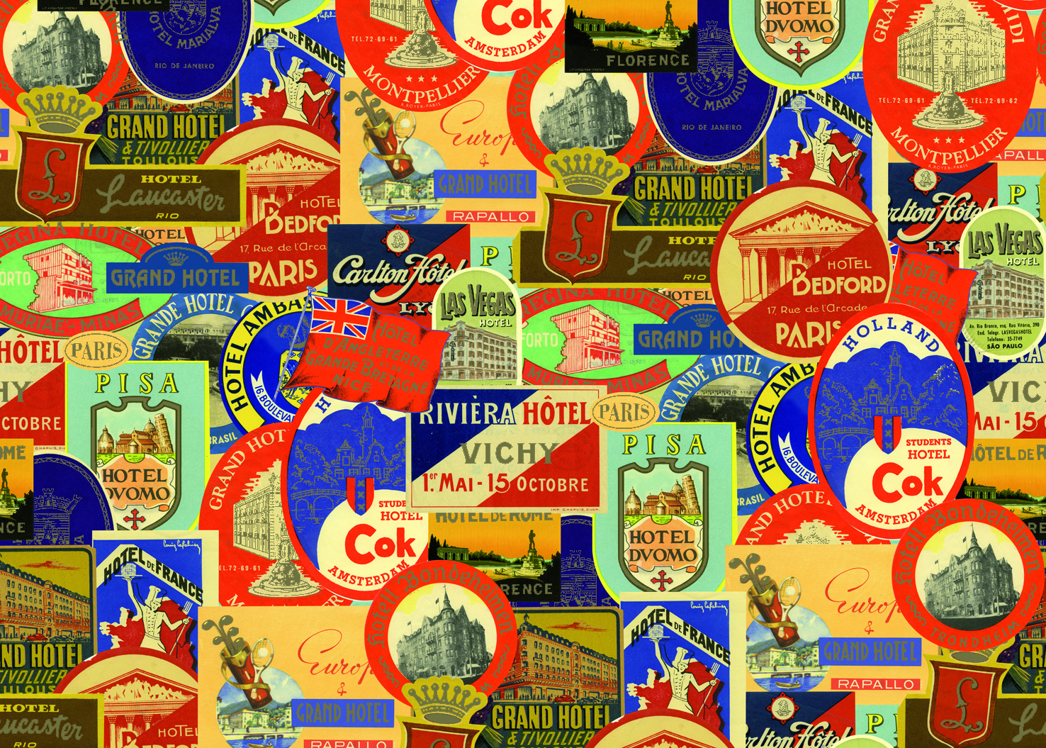 Bold vintage travel labels would make anyone want to take a trip.