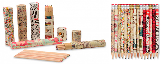 pencil cases and pencils covered with rossi paper