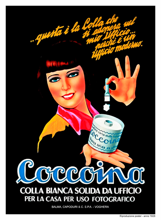 Coccoina, white solid glue for office, home and photography - advertisement