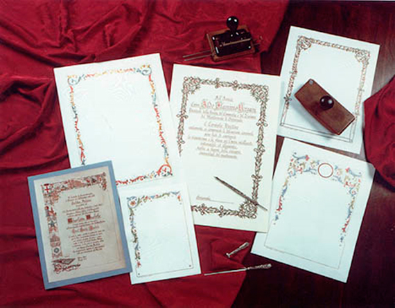 Pettinaroli parchment made from tanned goatskin, decorated strictly by hand