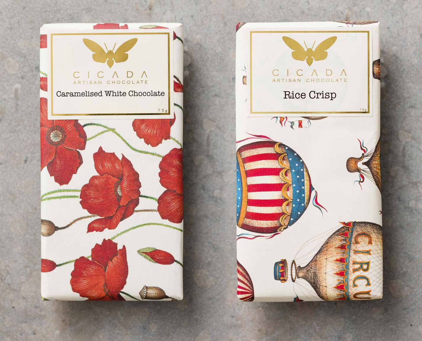 Decorative paper wrapping chocolate bar Cicada Australia