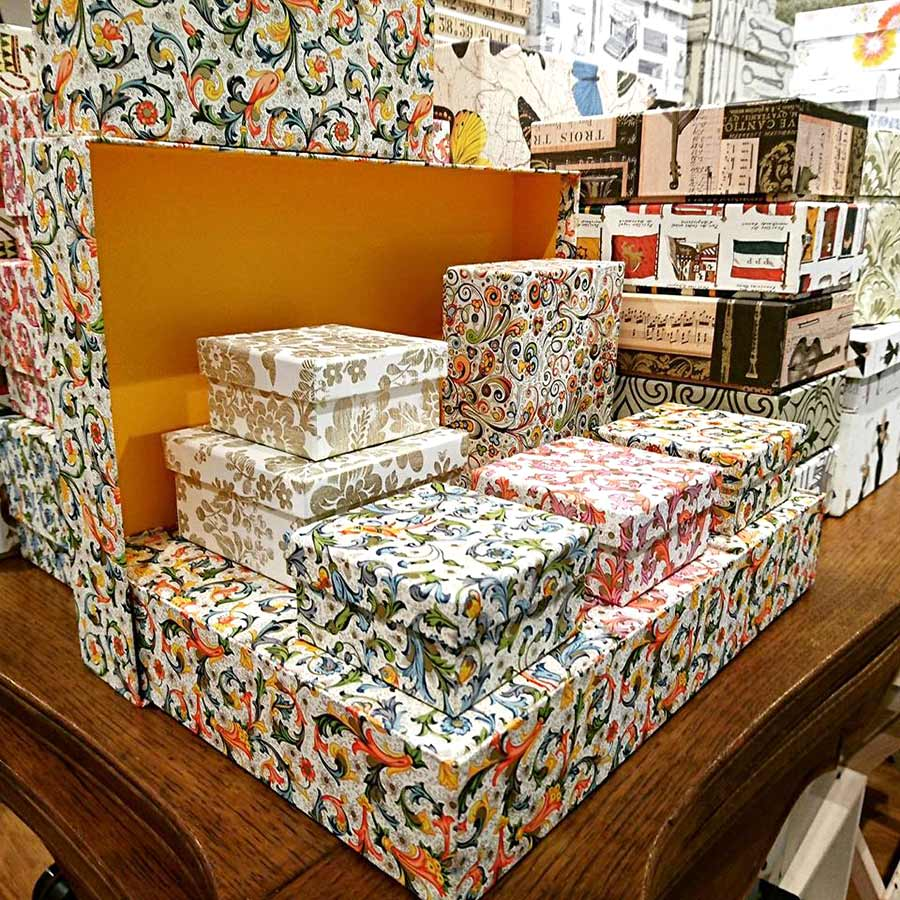 Storage Boxes Covered in decorative Rossi 1931 Papers