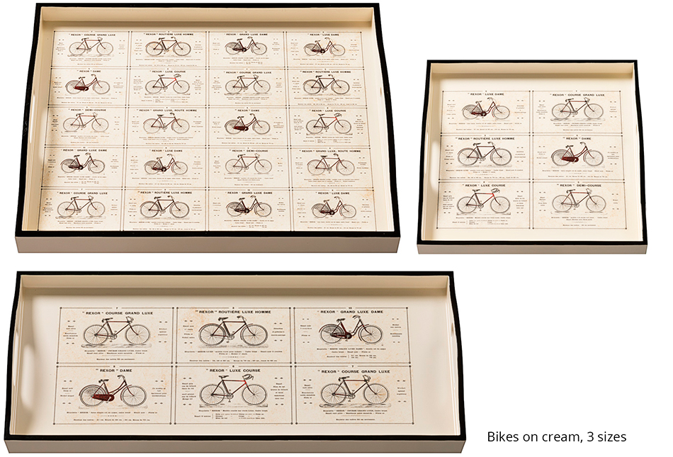 Decoupaged Trays Bikes on Cream 3 Sizes