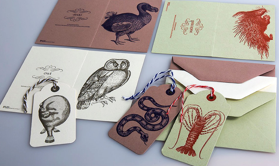 Envelopes tags in 1700th century illustrations