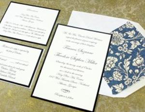 Wedding Invitation with Black Backer Card Rossi1931