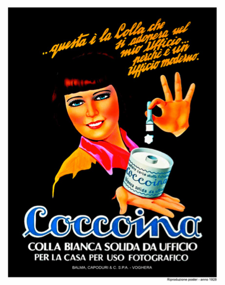 """This is the glue that works in my office because it's a modern office. Coccoina, white solid glue for office, home and photography"" (1928)"