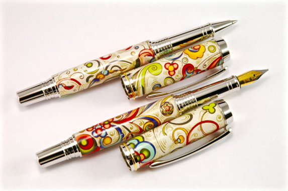 Double roller ball pen cast in rossi1931 italian florentine paper