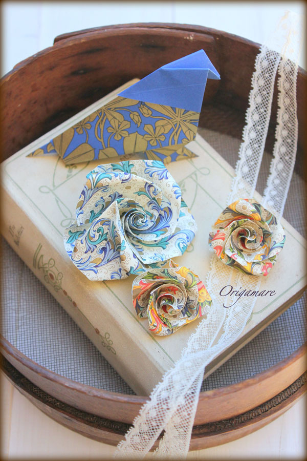 Rossi1931 Origami Origamare Birds Roses with decorative papers