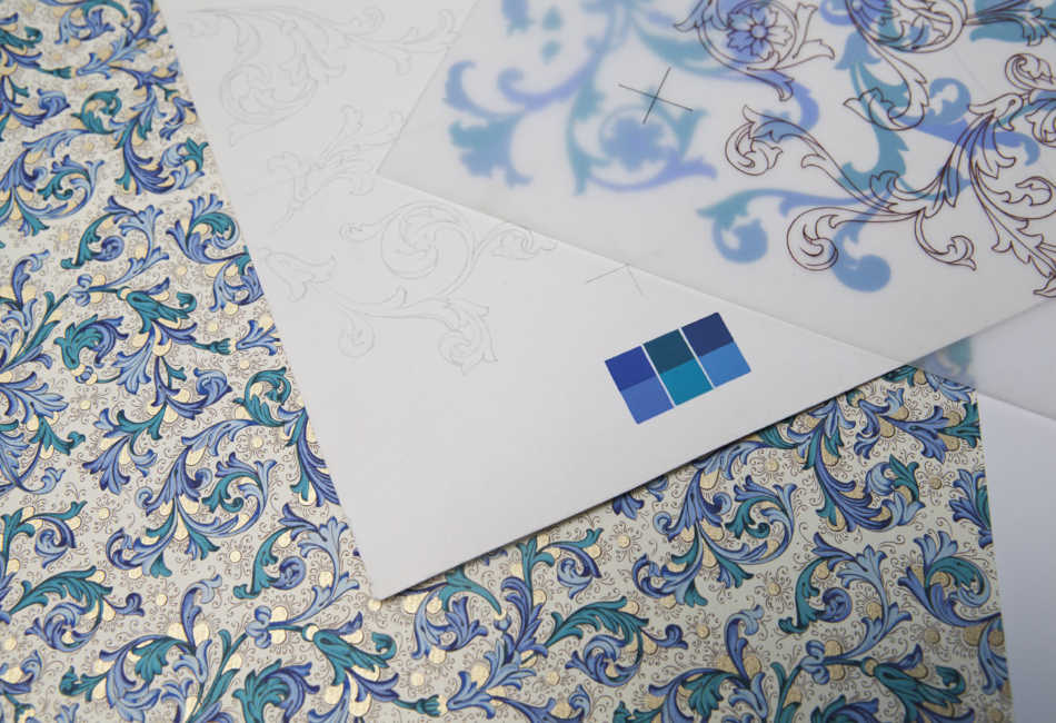 Decorative Paper with Arabesque Designs by Patrizia Margheri